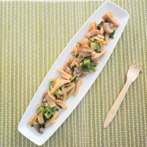 pasta con setas y espinacas